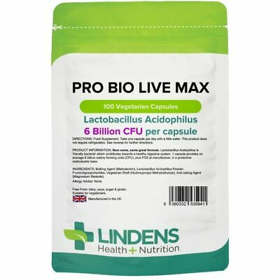 Probiotic MAX 6 Billion CFU 100 Veg Capsule Acidophilus FOS Prebiotic LINDENS