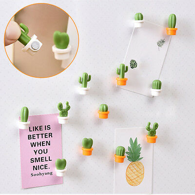 6PC Cute Plant Magnet Patch Stickers Button Cactus Refrigerator Message Sticker