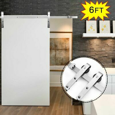6 FT Modern Stainless Steel Sliding Barn Wood Door Closet Hardware Track Set