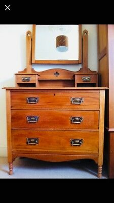 Antique Satin wood wardrobe & dressing table, excellent condition.