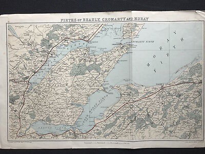 Antique Map FIRTHS OF BEAULY CROMARTY MORAY Gazetteer Scotland c1882 Bartholemew