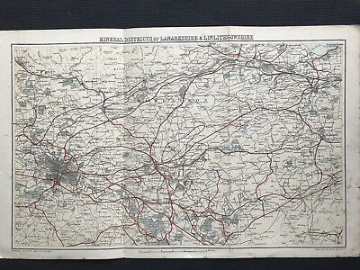 Antique Map MINERAL DISTRICTS of LANARKSHIRE & LINLITHGOWSHIRE c1882 Bartholemew