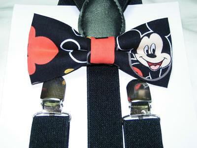 Mickey Mouse on Black Bow tie & Suspenders / Pre-tied Bow tie / Black Suspenders