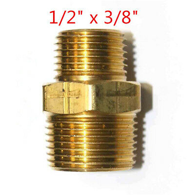 "whitworth 1/2"" x 3/8""Male Reducing Hex Nipple Threaded Brass Pipe Fitting"