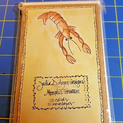 LOBSTER Note Cards (10) with (11) Envelopes, heavy card stock  B476