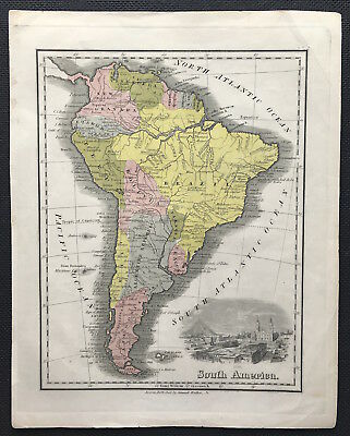 100% Original Map of SOUTH AMERICA c1861, by MALTE-BRUN, Engraved, color VGC