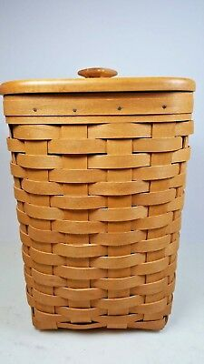 """1996 Longaberger Mini Waste / Large Spoon Basket with Protector & Lid 10 1/2"""""""