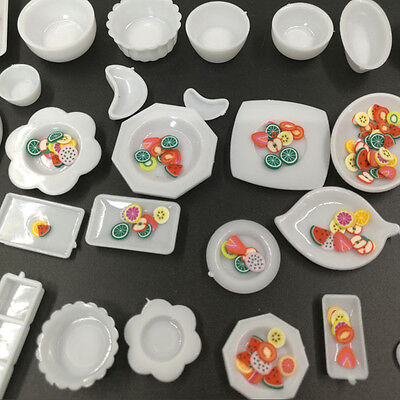 33Pcs/Set Mini Dollhouse 1:12 Scale Kitchen Dining Food Plate Cup Model Kids Toy