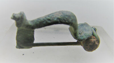 Ancient Roman Imperial Trumpet Type Brooch. Authentic Legionary Artefact