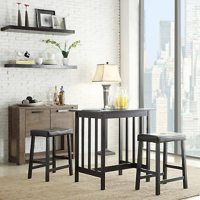 3 Piece Kitchen Counter Height Dining Set Pub Bar Table Stools Chair Small Nook