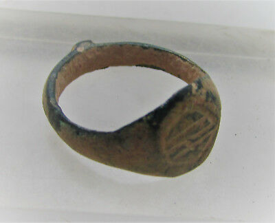 Ancient Byzantine Bronze Ring With Crude Insignias On Bezel