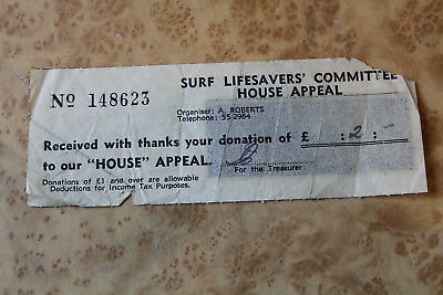 Vintage SLSC 1960s 70s HOUSE Appeal Ticket Surf Lifesavers Comittee Docket
