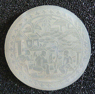 Antique Chinese Round Mother Of Pearl Gaming Chip