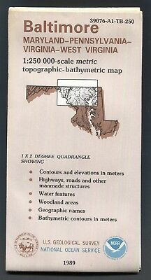 USGS Topographic NOAA Bathymetric Map BALTIMORE MD PA VA WV 1:250K 1989 1x2°