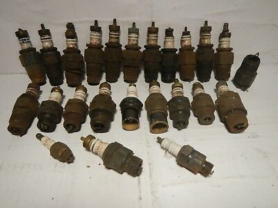 Antique spark plug lot CHAMPION garage mans junk drawer