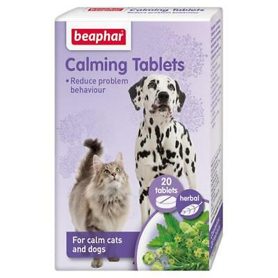BEAPHAR Cat Dog Herbal Natural 20 CALMING TABLETS Remedy Fireworks Stress Relief