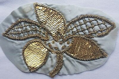 Antique Gold Metallic Embroid. Frag. w/Gold Metal Spangles Blossom Stem  French