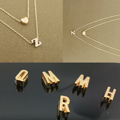 Women Girl Tiny Dainty Heart Initial Double Layer Necklace 26 Letters Jewelry