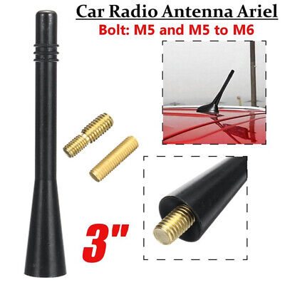 "3""Black Car Aerial Bee Sting Mast Antenna Ariel Decorate Mini Radio Stubby Roof"
