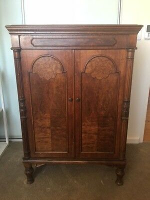 Lovely antique wood c1920s cocktail cabinet - previously gramophone cabinet.
