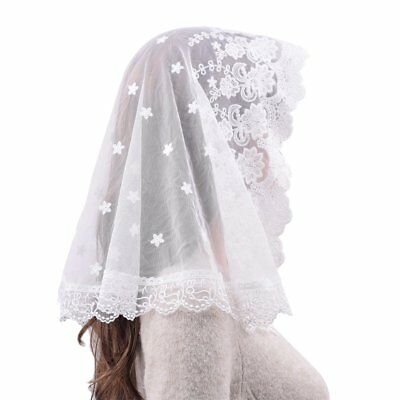 White Veil Lace Mantilla Catholic Church Chapel Veil Head Covering Latin Mass