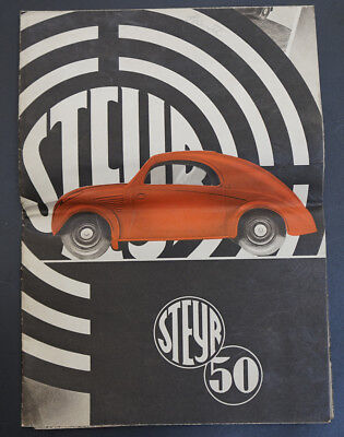 1936 Austrian Steyr Type 50 Car Automobile Poster Fold Brochure Advertising AD