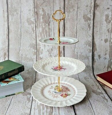 3tier Vintage/Shabby Chic floral china Cake stand Afternoon Tea/ Wedding