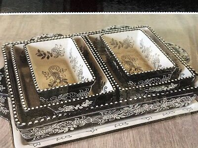 Baum Ceramic Oven-to-Table 6 Piece Bakeware Set Black And White Br N Box
