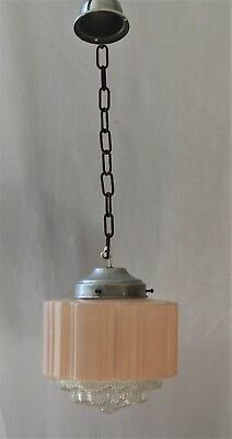 ART DECO LIGHT SHADE  Pendant Pink Empire GLASS STEPPED Chain  Machine Age VGC