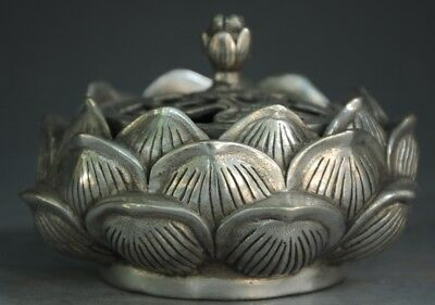 Collectible Old Tibet Silver Lotus Hollow Out Buddhism Incense Burner d01