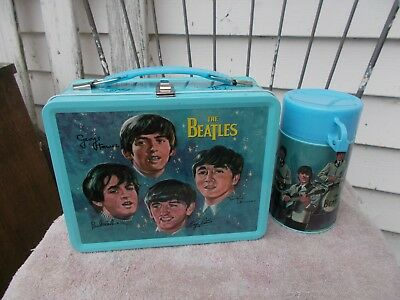 THE  BEATLES   METAL    LUNCHBOX  W/ THERMOS   SEALED   RARE- UNAUTHORIZED 60's