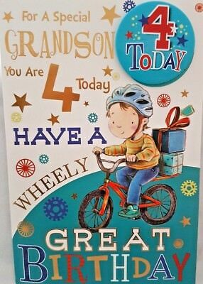 GRANDSON 4th BIRTHDAY CARD BADGE AGE 4 TODAY DESIGN NICE 9