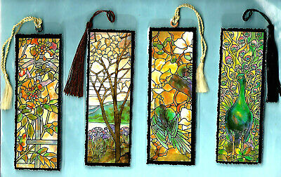 Bookmark Tiffany Stained Glass Window Red Rose Passion Flower Floral Print Gift