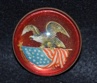 Vintage Domed Glass & Brass - Bald Eagle & Flag Bridle Rosette Pin