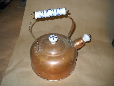 Nice VINTAGE Copper Tea Kettle (Made in Korea) with Porcelain Handle and Knobs
