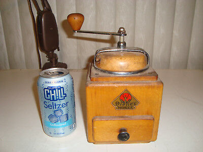 "VTG German ""Wood Top"" Hard Wood Pe De Dienes Mocca Coffee Grinder Hand Crank"