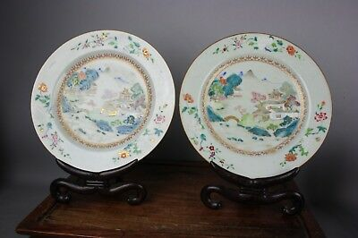 18th C. QianLong Pair Chinese Famille-rose Porcelain Dishes with Wood Stands