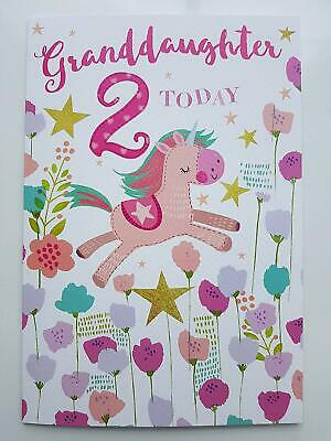 Granddaughter 2nd Two Today Birthday Card Quality Nice Verse