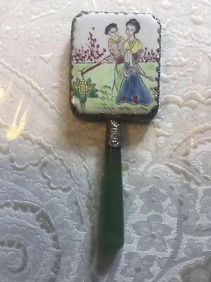 Vintage Hand Held Mirror Asian Style with green handle