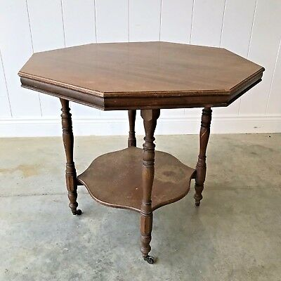 ANTIQUE Victorian / Edwardian Octagonal Mahogany Occasional Side Table Castors