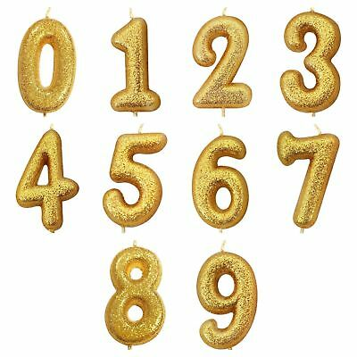 Number Age Gold Glitter Happy Birthday Candles Cake Topper Decoration 0 9