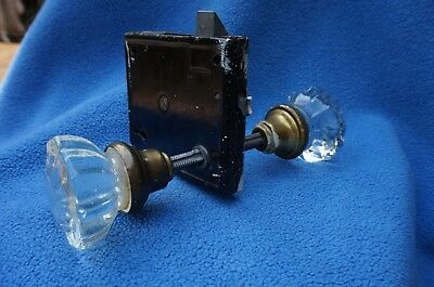 Vintage Victorian 12 point glass Door Knob set with lock set farmhouse