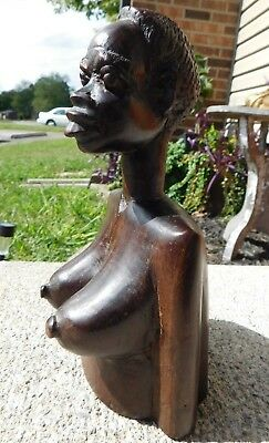 HEAVY Vintage Carved Ebony(?) African Woman Bust