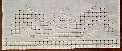antique fine linen hand towel exquisite laddering+embroidery, cream, top quality