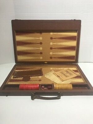 Cherry Red & Amber Bakelite Lowe Backgammon Set Vintage Collection Item