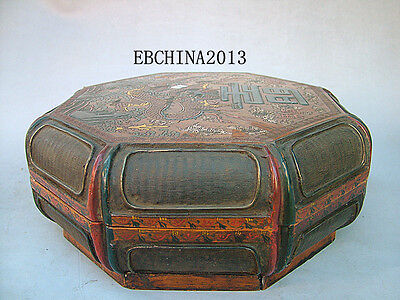 "11.2""Old Antique Chinese Ancient Boxwood Lacquer Dragon Painting Jewelry Box"