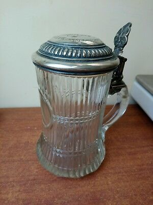 Antique silver 800 German Stein H Meyer 1897. Silver Stein Glass Pot