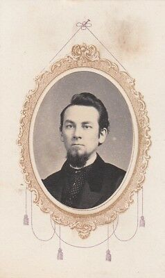 Cdv Civil War Gold Frame Memorial Of Gentleman Polka Dot Vest,tie Pin,goatee
