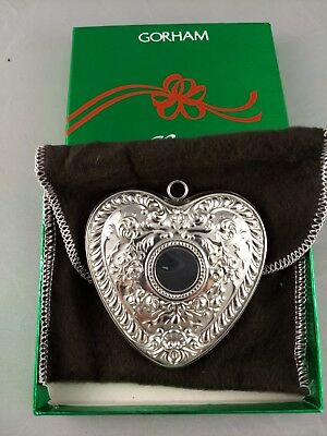 1988 Gorham Archive Heart Sterling Silver Christmas Ornament New w/box and bag