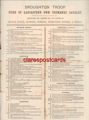 Instructions to Broughton Troop Duke Lancaster Own Yeomanry Cavalry 1880s Army C